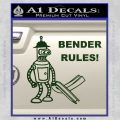 Futurama Bender Rules Construction Hat Decal Sticker Dark Green Vinyl 120x120