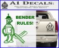 Futurama Bender Rules Construction Hat Decal Sticker Green Vinyl Logo 120x97