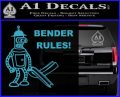 Futurama Bender Rules Construction Hat Decal Sticker Light Blue Vinyl 120x97