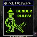 Futurama Bender Rules Construction Hat Decal Sticker Lime Green Vinyl 120x120