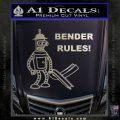 Futurama Bender Rules Construction Hat Decal Sticker Metallic Silver Emblem 120x120