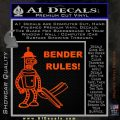 Futurama Bender Rules Construction Hat Decal Sticker Orange Emblem 120x120