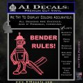 Futurama Bender Rules Construction Hat Decal Sticker Pink Emblem 120x120