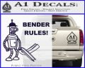 Futurama Bender Rules Construction Hat Decal Sticker PurpleEmblem Logo 120x97