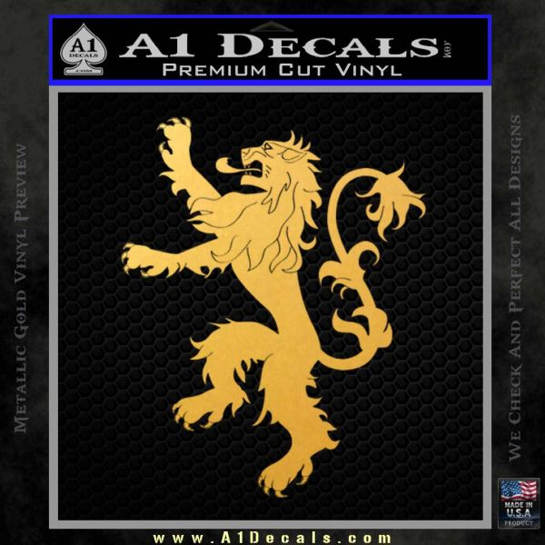 Game Of Thrones Decal Sticker House Lannister Gold Vinyl