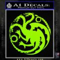 Game Of Thrones Decal Sticker House Targaryen Lime Green Vinyl 120x120