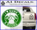 Guns And Boobs Starbucks Molon Labe Decal Sticker Green Vinyl Logo 120x97