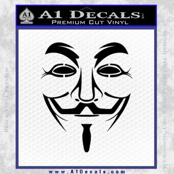 Guy Fawkes Anonymous Mask V Vendetta D3 Decal Sticker Black Vinyl