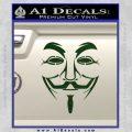 Guy Fawkes Anonymous Mask V Vendetta D3 Decal Sticker Dark Green Vinyl 120x120