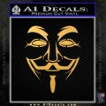 Guy Fawkes Anonymous Mask V Vendetta D3 Decal Sticker Gold Vinyl 120x120