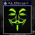 Guy Fawkes Anonymous Mask V Vendetta D3 Decal Sticker Lime Green Vinyl 120x120