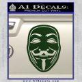Guy Fawkes Anonymous Mask V Vendetta D4 Decal Sticker Dark Green Vinyl 120x120