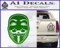 Guy Fawkes Anonymous Mask V Vendetta D4 Decal Sticker Green Vinyl Logo 120x97