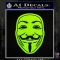 Guy Fawkes Anonymous Mask V Vendetta D4 Decal Sticker Lime Green Vinyl 120x120