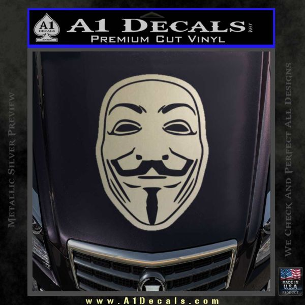 Guy Fawkes Anonymous Mask V Vendetta D4 Decal Sticker Metallic Silver Emblem
