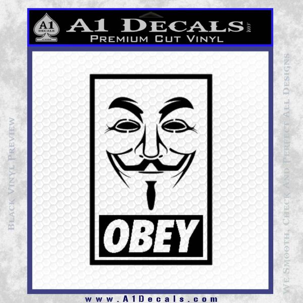 Guy Fawkes Anonymous Mask V Vendetta D7 Decal Sticker Obey Black Vinyl