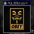 Guy Fawkes Anonymous Mask V Vendetta D7 Decal Sticker Obey Gold Vinyl 120x120