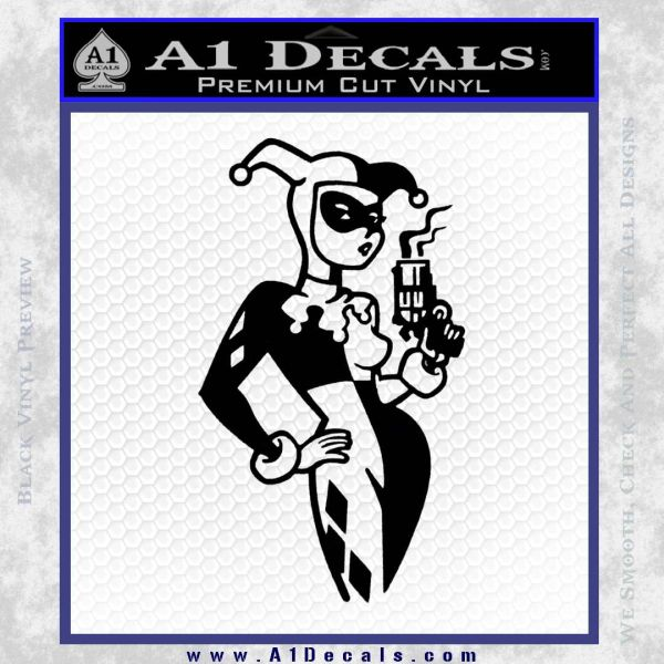 Harley Quinn Smoking Gun D2 Decal Sticker Black Vinyl