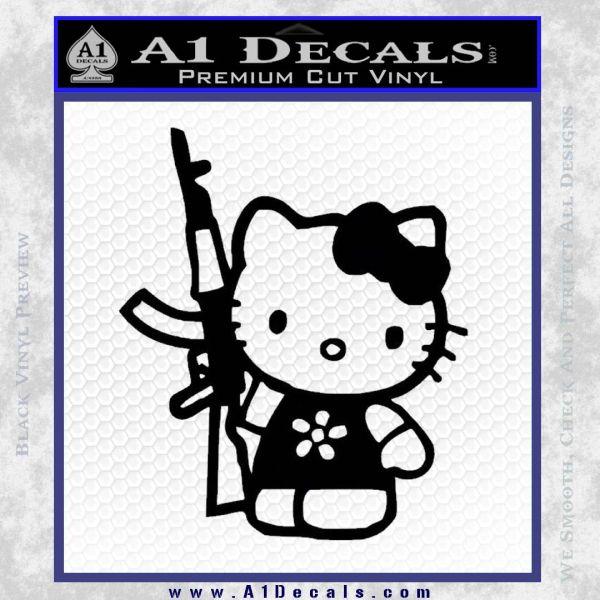 Hello Kitty AK 47 Decal Sticker Black Vinyl