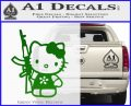 Hello Kitty AK 47 Decal Sticker Green Vinyl Logo 120x97