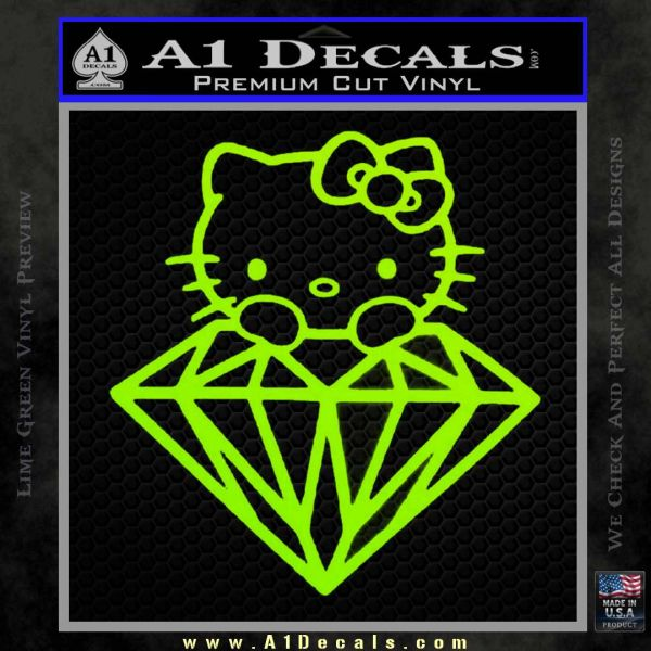 Hello Kitty JDM Diamond Decal Sticker Lime Green Vinyl