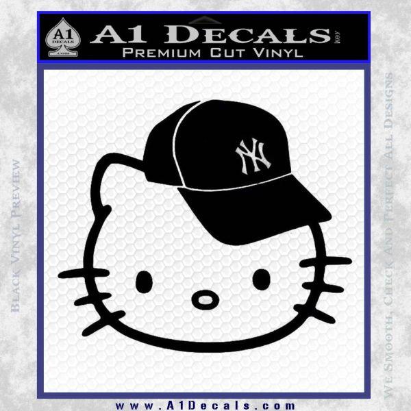 Hello Kitty NY Yankees Decal Sticker Black Vinyl