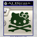 Hello Kitty Skull and Crossbones Decal Sticker Dark Green Vinyl 120x120