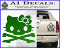 Hello Kitty Skull and Crossbones Decal Sticker Green Vinyl 120x97