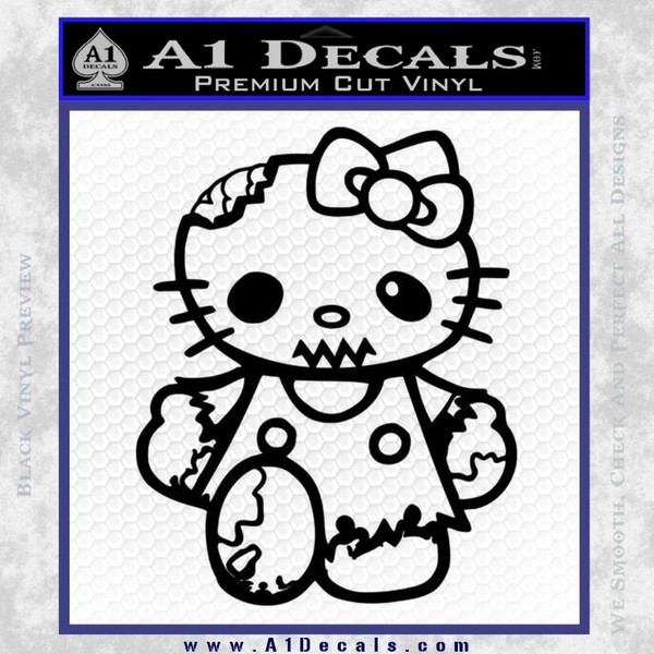 Hello Kitty Zombie Apocolypse HKZ Decal Sticker Black Vinyl