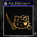 Hello Pirate Kitty Decal Sticker Gold Metallic Vinyl 120x120