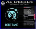 Hitch Hikers Guide Dont Panic New Decal Sticker Light Blue Vinyl 120x97