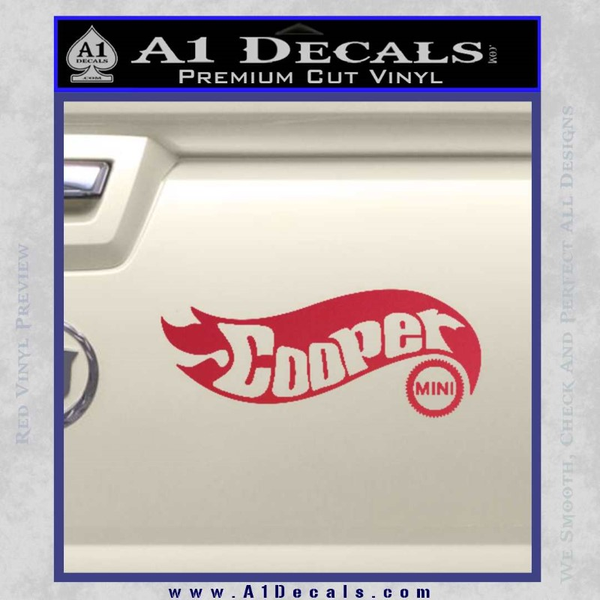 Hot Wheels Mini Cooper D1 Decal Sticker Red Vinyl