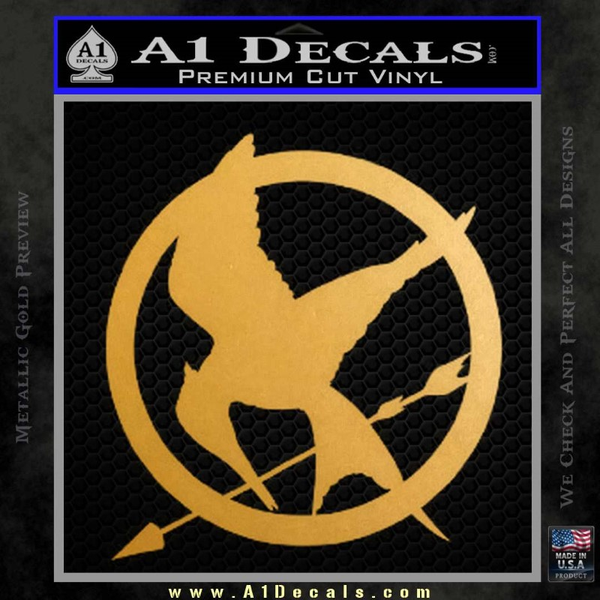 Hunger Games Mockingjay Decal Sticker Gold Metallic Vinyl