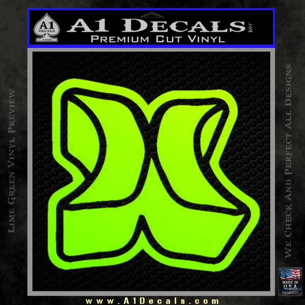 Hurley 3D Decal Sticker Neon Green Vinyl