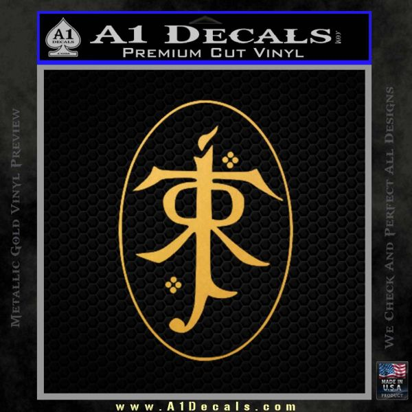 J. R. R. Tolkien Monogram Jrr Self Designed D1 Decal Sticker Gold Vinyl