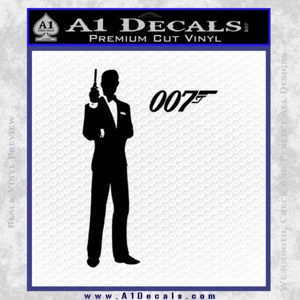 James Bond with 007 Decal Sticker Black Vinyl