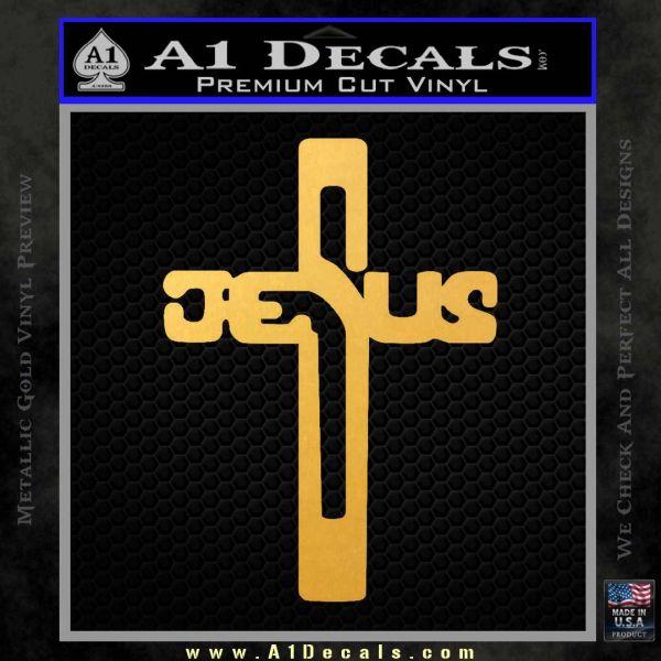 Jesus Cross Crucifix Decal Sticker D2 Gold Vinyl