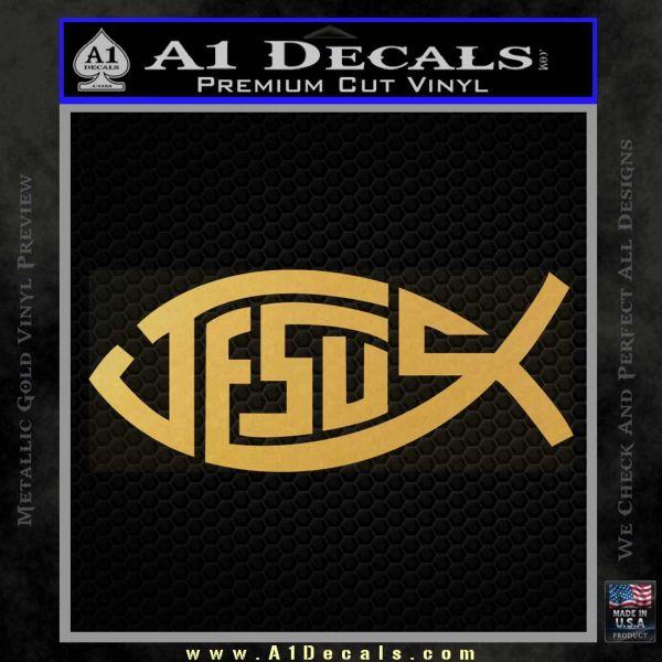 Jesus Fish Decal Sticker Tribal Gold Vinyl