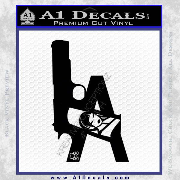 La los angeles gun decal sticker black vinyl