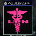 LPN Nurse Caduceus Decal Sticker Pink Hot Vinyl 120x120