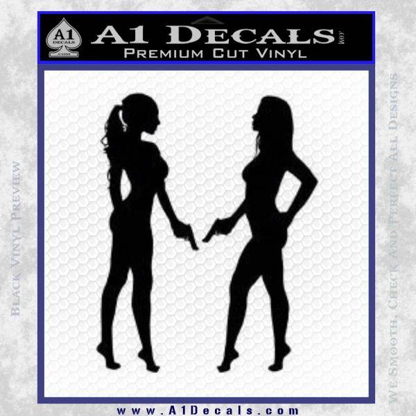 Ladies With Guns Decal Sticker Black Vinyl