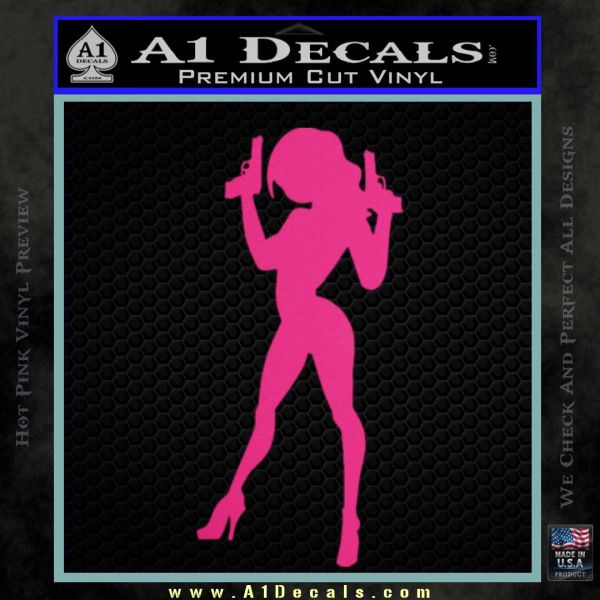 Lady With Gun Decal Sticker Pink Hot Vinyl