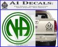 N.A. Narcotics Anonymous Decal Sticker D1 Green Vinyl Logo 120x97