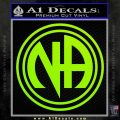 N.A. Narcotics Anonymous Decal Sticker D1 Lime Green Vinyl 120x120