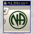 Na Narcotics Anonymous Single Circle D1 Decal Sticker Dark Green Vinyl 120x120