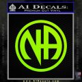 Na Narcotics Anonymous Single Circle D1 Decal Sticker Lime Green Vinyl 120x120