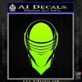 Snake Eyes GI Joe Helmet Decal Sticker Neon Green Vinyl 120x120