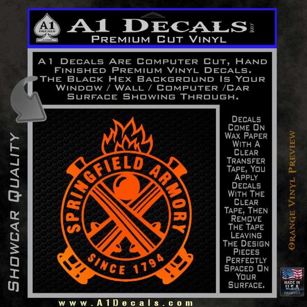 Springfield armory firearms decal sticker orange emblem 120x120