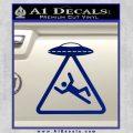 UFO Abduction Warning D1 Decal Sticker Blue Vinyl 120x120