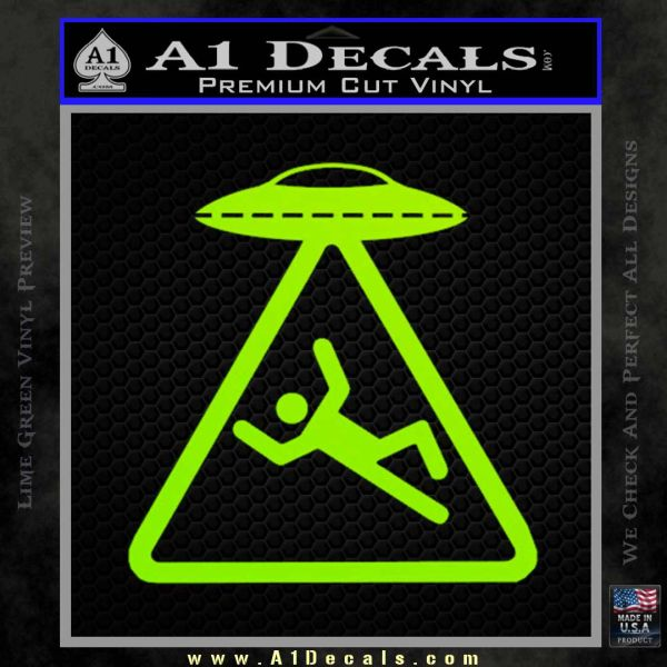 UFO Abduction Warning D1 Decal Sticker Lime Green Vinyl